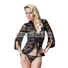 Комплект Emilie черный: пеньюар + трусики-стринги