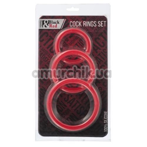 Набор из 3 эрекционных колец Black & Red Cock Rings Set, красный