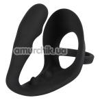 Стимулятор простаты с эрекционным кольцом Black Velvets Ring & Plug, черный - Фото №1