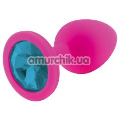 Анальная пробка с голубым кристаллом RelaXxxx Silicone Plug Medium, розовая - Фото №1