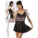 Костюм пиратки Cottelli Collection чёрный: платье + головной убор + чокер - Фото №1