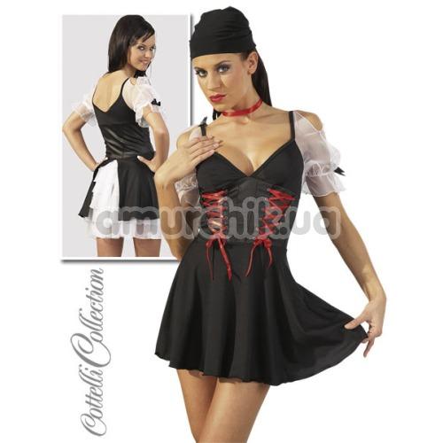 Костюм пиратки Cottelli Collection чёрный: платье + головной убор + чокер