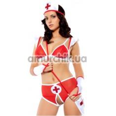 Костюм медсестры Love Party Sexy Nurse: бюстгальтер + трусики-шортики + чепчик + сумочка - Фото №1