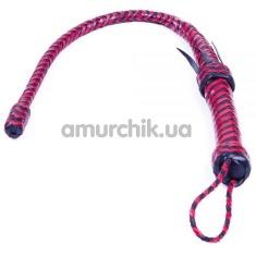 Плеть DS Fetish Leather с твердым крупным наконечником, красно-черная - Фото №1