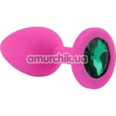 Анальная пробка с зеленым кристаллом SWAROVSKI Zcz, розовая - Фото №1