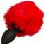 Анальная пробка с красным хвостиком Loveshop S, черная - Фото №3