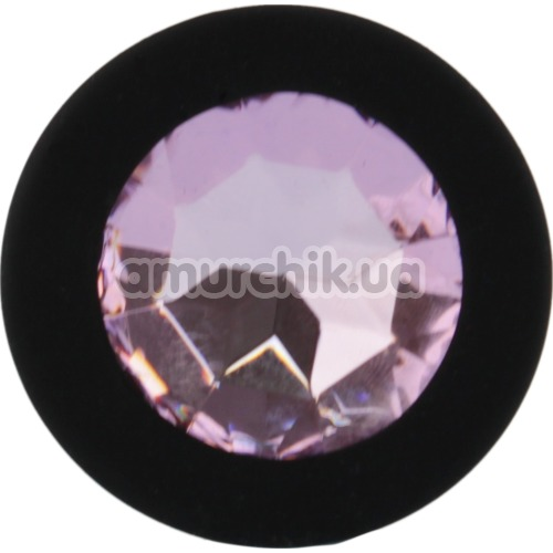 Анальная пробка со светло-розовым кристаллом SWAROVSKI Zcz, черная