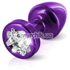 Анальная пробка с прозрачным кристаллом SWAROVSKI Anni R Clover T1, фиолетовая - Фото №1