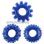 Набор из 3 эрекционных колец GK Power Gear Up Rings, синий - Фото №1