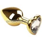 Анальная пробка с прозрачным кристаллом SWAROVSKI Gold Heart Diamond, золотая