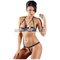 Комплект Cottelli Collection Lingerie Bra Set черный: бюстгальтер + трусики-стринги - Фото №1