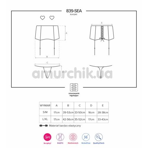 Комплект Obsessive 839-SEA-1 черный: пояс для чулок + трусики-стринги + украшения для сосков