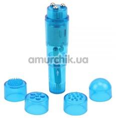 Клиторальный вибратор с насадками Hi-Basic, голубой - Фото №1