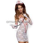 Костюм медсестры Obsessive Medica белый: платье + чепчик + перчатки + стринги + стетоскоп - Фото №1