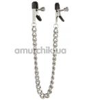 Зажимы для сосков плоские с крупной цепочкой Lucky Bay Nipple Play, серебряные - Фото №1