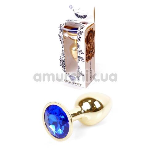 Анальная пробка с синим кристаллом Exclusivity Jewellery Gold Plug, золотая