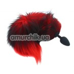 Анальная пробка с черно-красным длинным хвостом sLash, черная
