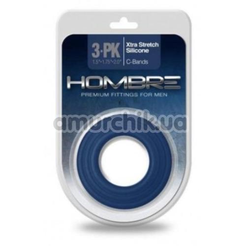Набор эрекционных колец Hombre Xtra Stretch Silicone C-Bands, синий