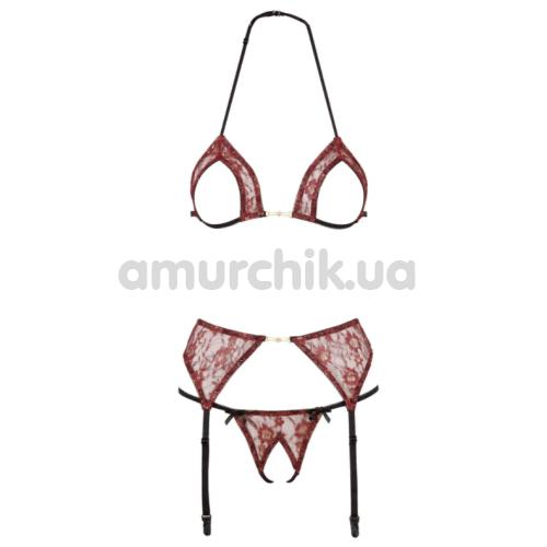 Комплект Abierta Fina Strapsset бордовый: бюстгальтер + трусики-стринги + пояс для чулок