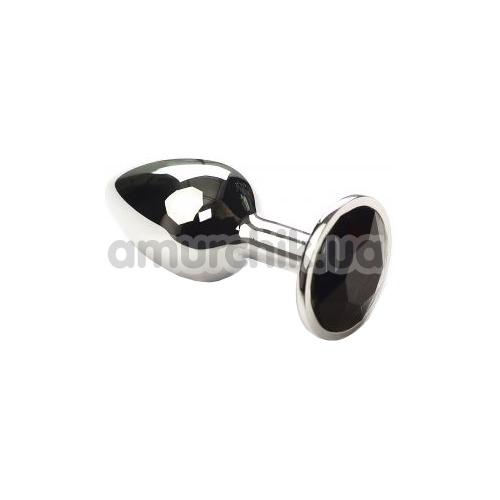 Анальная пробка с черным кристаллом SWAROVSKI Silver Black Diamond Small, серебряная