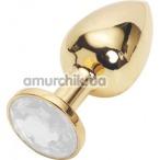 Анальная пробка с прозрачным кристаллом SWAROVSKI, 7.5 см гладкая золотая - Фото №1