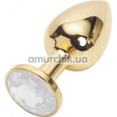 Анальная пробка с прозрачным кристаллом SWAROVSKI, 7.5 см гладкая золотая