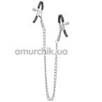 Зажимы для сосков с цепочкой Lucky Bay Nipple Play Thin Chain Metall, серебряные - Фото №1