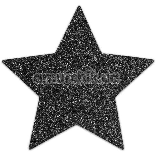 Украшения для сосков Bijoux Indiscrets Flash Glitter Pasties Star, черные