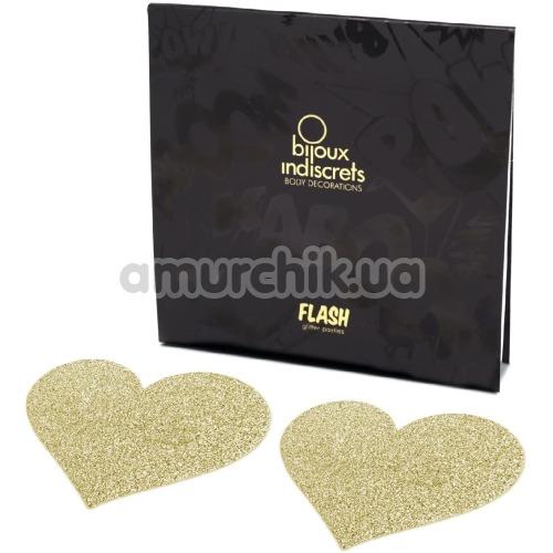 Украшения для сосков Bijoux Indiscrets Flash Glitter Pasties Heart, золотые - Фото №1