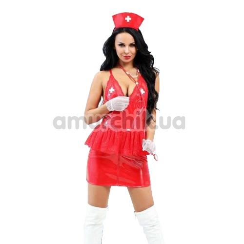 Костюм медсестры JSY Nun Costume 6517 красный: топ + юбка + головной убор + перчатки + стетоскоп