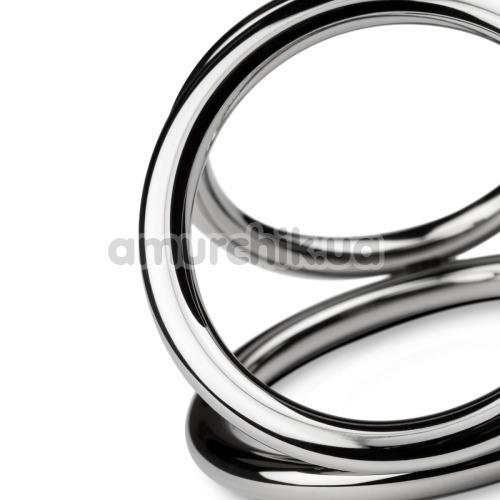 Эрекционное кольцо Unbendable Triad Chamber Metal Cock And Ball Ring L, серебряное