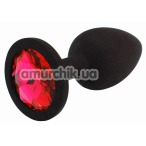 Анальная пробка с красным кристаллом SWAROVSKI Zcz М, черная