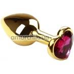 Анальная пробка с розовым кристаллом SWAROVSKI Gold Heart Amethyst, золотая