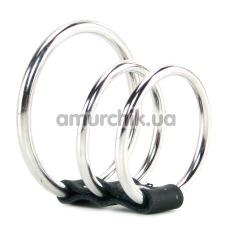 Насадка на пенис с тремя металлическими кольцами Sex & Mischief 3 Ring Cock Cage - Фото №1