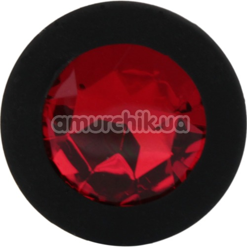 Анальная пробка с красным кристаллом SWAROVSKI Zcz, черная