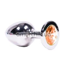 Анальная пробка с оранжевым кристаллом SWAROVSKI Steel Jewel Plug, серебряная - Фото №1