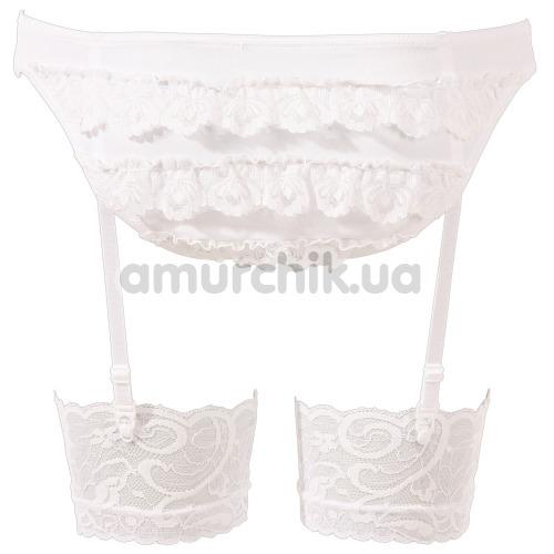 Костюм школьницы Cottelli Collection Costumes 2470365 бело-красный: топ + мини-юбка + трусики + чулки + галстук