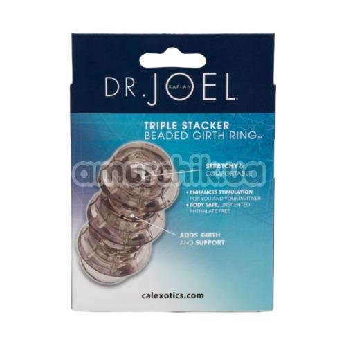 Насадка на пенис Dr. Joel Kaplan Triple Stacker Beaded Girth Ring, серая