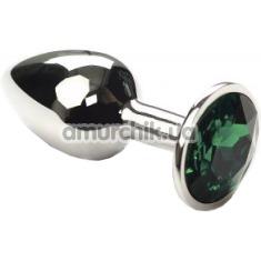 Купить Анальная пробка с зеленым кристаллом SWAROVSKI Silver Emerald Small, серебряная