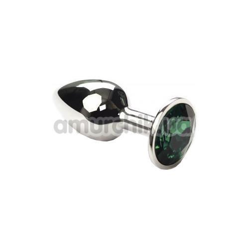 Анальная пробка с зеленым кристаллом SWAROVSKI Silver Emerald Small, серебряная