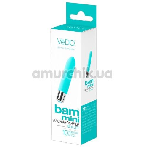 Клиторальный вибратор VeDO Bam Mini Rechargeable Bullet, бирюзовый
