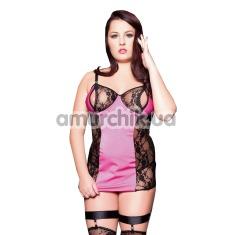 Комплект Nora розовый: комбинация + трусики-стринги + чулки + подвязки для чулок - Фото №1