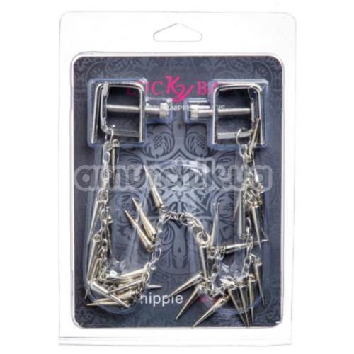 Зажимы для сосков квадратные с шипами Lucky Bay Nipple Play Chain and Spike, серебряные