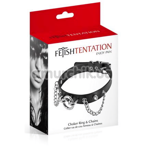 Ошейник Fetish Tentation Choker Rings and Chains, черный