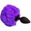 Анальная пробка с фиолетовым хвостиком Loveshop S, черная - Фото №2