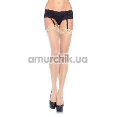 Чулки Nylon Sheer Thi-Hi W/Lace Top, телесные - Фото №1