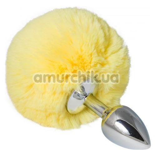Анальная пробка с желтым хвостиком sLash Honey Bunny Tail S, серебряная
