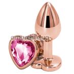 Анальная пробка с розовым кристаллом SWAROVSKI в виде сердца Rear Assets S, золотая - Фото №1