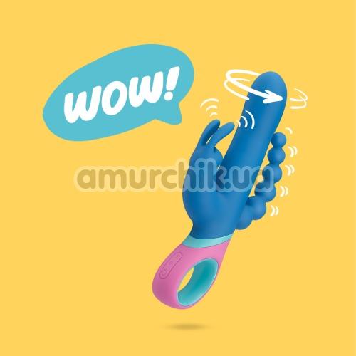Анально-вагинально-клиторальный вибратор с ротацией PMV20 Vice, голубой