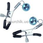 Зажимы для сосков Nipple Golden Bells с колокольчиками, голубые - Фото №1
